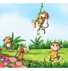 Monkeys playing vector