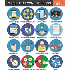 Circle colorful concept icons flat design set 7 vector