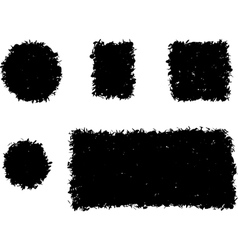 Grunge shape square and round black silhouette vector