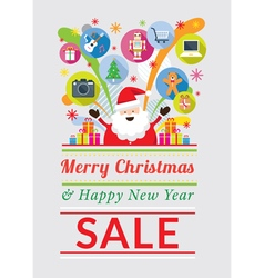 Santa claus with gift icons sale event vector