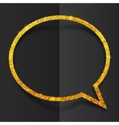 Golden glitter speech bubble frame isolated on vector image