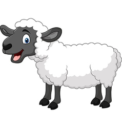 Cartoon happy sheep posing isolated vector