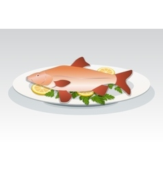 Fish icon Crucian on white plate with lemon and vector image