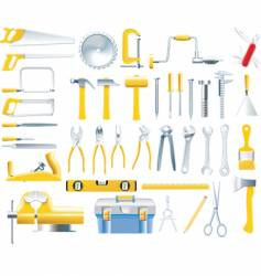 woodworker tools icon set vector image