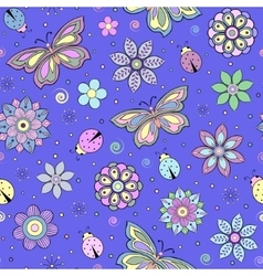 Colorful flowers butterflies and ladybugs vector