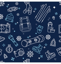 Seamless winter adventure pattern vector