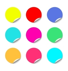 Color round stickers with curled edge vector