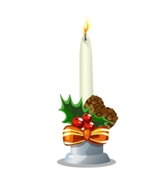 Christmas white burning candle holiday decoration vector