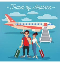 Airplane travel active people girl with baggage vector