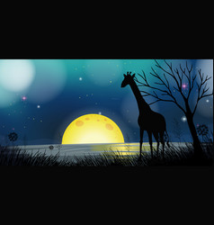 Background scene with silhouette giraffe at night vector