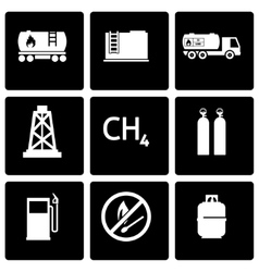 Black natural gas icon set vector