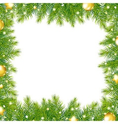 Border with christmas tree and gold ball vector