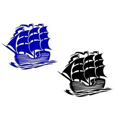 Brig sail ship vector image