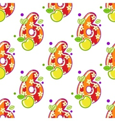 Cartoon number six seamless pattern vector image vector image