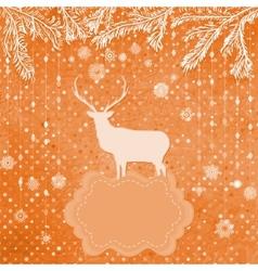 Christmas deer snowflakes card vector image vector image