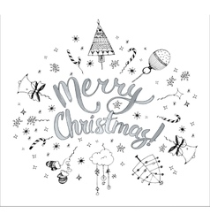 Christmas postcard template with doodles Hand vector image