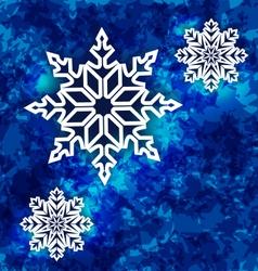 Christmas set snowflakes on dark blue grunge vector