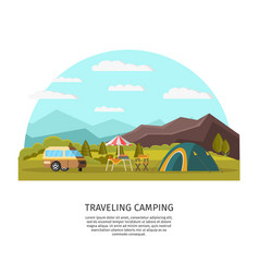 Colorful camping concept vector