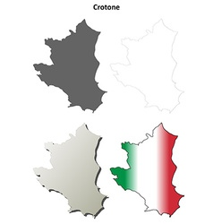 Crotone blank detailed outline map set vector