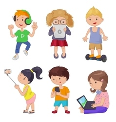 Cute cartoon children smart device vector