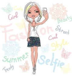 cute girl makes selfie vector image vector image