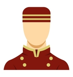 Doorman in red uniform icon vector image