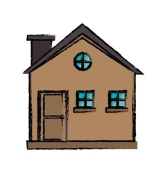Drawing cottage wooden chimney exterior vector