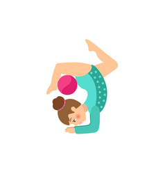 flat girl making gymnastics exercise vector image vector image