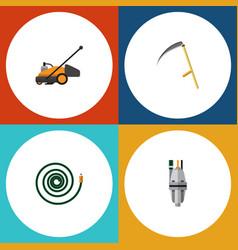 Flat icon garden set of cutter lawn mower pump vector