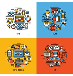 Flat line icons set of SEO SMM UI and UX design HR vector image