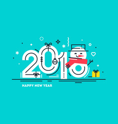 happy 2018 new year flat greeting card vector image vector image