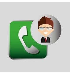 Happy businessman telephone network media icon vector
