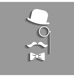 Hipster in bowler hat paper silhouette vector