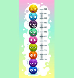 Kids height chart with funny cartoon colorful vector
