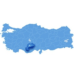 Map of turkey karaman vector