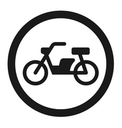 No motorcycle prohibition sign line icon vector