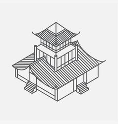 Outline isometric pagoda house chinese landmark vector