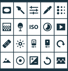 Photo icons set with reload slideshow timelapse vector