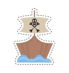 pirate boat sail flag bone and skull sea cut line vector image
