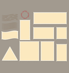 postage stamps template flat set vector image