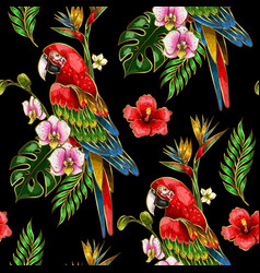Seamless pattern with ara parrot embroidery vector