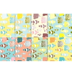 Set of Seamless patterns with marine fishes vector image vector image