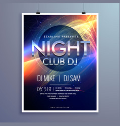stylish night club music party flyer template vector image vector image