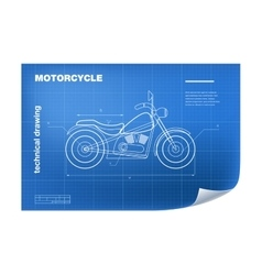 Technical with motorbike drawing on vector image vector image