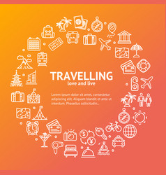 travel round design template line icon concept vector image vector image