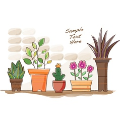 Cartoon pot plants vector