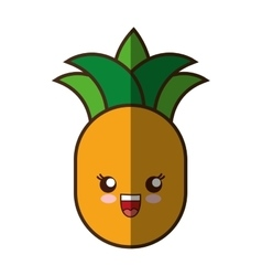 pineapple fresh fruit kawaii style isolated icon vector image