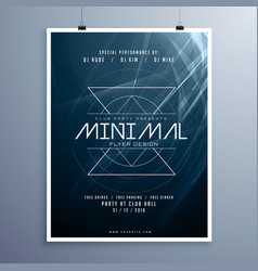 Minimal elegant music flyer template in blue vector