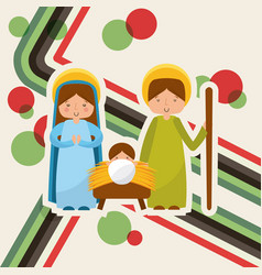 Cute family manger characters christmas vector