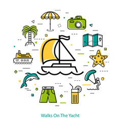 Walks on the yacht - round line concept vector